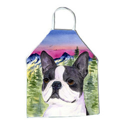 Caroline's Treasures - Boston Terrier Apron SS8339APRON - Apron, Bib Style, 27 in H x 31 in W; 100 percent  Ultra Spun Poly, White, braided nylon tie straps, sewn cloth neckband. These bib style aprons are not just for cooking - they are also great for cleaning, gardening, art projects, and other activities, too!