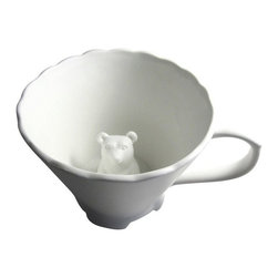 Imm Living - Hidden Animal Teacups, Bear - Hold a tea party that is full of surprises. What a delight, as your tea cup empties, an animal will appear in your cup! Perfect for hot or cold beverages. Available in fox, bear and owl designs