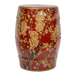 Oriental Furniture - Sakura Blossom Garden Stool - Dark red oriental porcelain garden stool in the classic barrel shape. Features intricate gold floral art work accented by raised gold design along the top and bottom, finished with a high luster glaze. Use as a small table, stool or stand in the living room or foyer. Not intended for outdoor use.