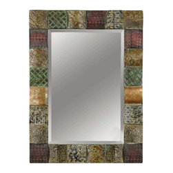 Uttermost - Grace Feyock Ganya Decorative Mirror - Designer: Grace Feyock. Mirror features a generous 1.25 in. bevel. Made of Metal\. Frame width: 4.6 in.. 30 in. W x 2 in. D x 40 in. HThis decorative mirror features hand embossed sheet metal over convex wooden squares. Frame is finished in a combination of rust brown, sage green, aged white, antiqued gold and mahogany.