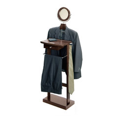 Winsomewood - Valet Stand With Wood Base - This Valet stand keeps great organization of your suit, dress shirt, shoes and accessories within reach. Sturdy construction with rich espresso finish. Features includes coat/shirt hanger, bar, mirror and drawer.