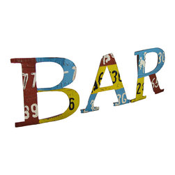 """Zeckos - Recycled License Plate Letters """"B-A-R"""" Wall Hanging - These recycled license plate letters are a wonderful addition to home and restaurant bars. Made of metal, each letter measures approximately 12 inches high, 11 1/2 inches wide, and 1 inch deep. They are not connected, so you can spell out 'BAR' in any configuration that is pleasing to your eye, or that your wall space allows. Each letter has a picture hanger on the back, and is suitable for indoor/outdoor use."""