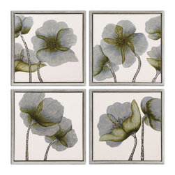 Uttermost - Mini Floral Glow Wall Art, Set of 4 - Bring your garden into your house with this set of four hand-painted floral canvases. Finished with a high gloss on the flowers each has been stretched and framed in a shadow box style to enhance the visual texture.