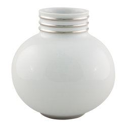 Maison Alma - Arienne Petite Round Vase, White & Platinum - You know you like it, and it's already got a ring on it. A small bulb of Limoges porcelain gets extra special sparkle and luxury from hand-applied 24-karat gold or platinum bands. Perfect for yourself or the recently married couple.