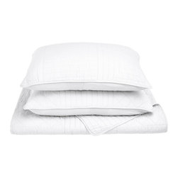 Williams Quilt Set - King - White - The Williams Quilt Set features a geometric lines pattern and is available in four colors. This set is made of 100% cotton and includes (1) Quilt: 106x92 and (2) Pillowshams: 20x36 each.