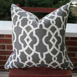 Schumacher Gray and Off-white Trellis Pillow by Sew Hip and Humble - Add some pattern to the bedroom with a great throw pillow. I love this classic trellis design.