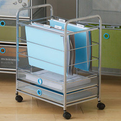 Hole Punch Hanging File Cart in Blue - The most essential office accessory you probably never knew you needed until you have one. With a top space for hanging files and two bottom drawers for supplies and office necessities, this wheelin' cart is easy to push to wherever it's needed most—no matter how often that changes.