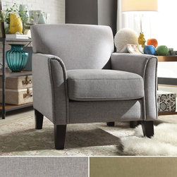 Inspire Q - INSPIRE Q Uptown Modern Accent Chair - Give guests a comfortable place to sit and relax with this contemporary Uptown accent chair. Upholstered with tailed grey linen,this modern chair features a plush filled seat and durable hardwood construction.