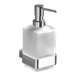 Gedy - Wall Mounted Frosted Glass Soap Dispenser - Contemporary, decorative wall mounted square soap dispenser.