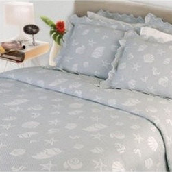 Lamont Home Sea Spray Coverlet - The Lamont Home Sea Spray Coverlet adds contemporary beach charm to your bedroom. Embellished with a delicate seashell and starfish design, this set is finished with a lovely scalloped edge hem. Available in your choice of size and color options, this coverlet set is made from 100% cotton fabric and is machine-washable for simple maintenance.
