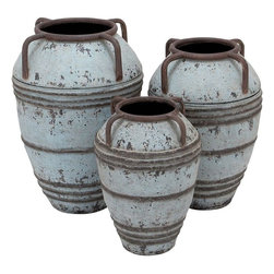 Benzara - Set of 3 Metal Vase with Exemplified Finesse - Add old world charm to your home decor with this Metal Vase S/3 26 in. , 23 in. , 19 in. H. This set includes three vases in a matching design, which are ideal for use as decor pieces. This set of vases makes for a stunning addition to entryways with its old-world, classic appeal. These elegant vases have a dual tone finish of antique white with antique brown detailing, which gives a rustic, vintage look. The weathered finish adds to the visual appeal of the set, and makes it an easy addition to modern or traditional decor setups. Stylishly decorated with a ring pattern along the vase body, this set exemplifies finesse and minimalistic style. This set is designed from premium grade metal and offers lasting, hassle-free usage...