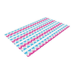 """Kess InHouse - Apple Kaur Designs """"Swimming Pool Tiles"""" Blue Pink Woven Area Rug (48"""" x 72"""") - Splash your floors with artwork! That's right, I said your floors. With these woven polyester jacquard area rugs adding a splash or pop of artwork is a breeze. Use it in just about any room, even the bathroom! These woven area rugs will leave all of your guests envious as they walk through your artistic home!"""