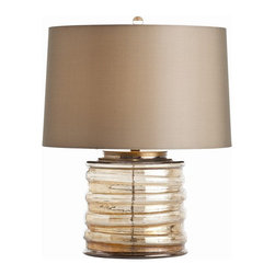 Arteriors Home - Arteriors Home Zelda Amber Luster Glass/Antique Brass Lamp - Arteriors Home 4680 - Arteriors Home 46804-655 - The amber luster finish on this horizontally ribbed cylinder is warm and rich and luxurious. The taupe shade is lined in taupe and has hand rolled edges. This shorter silhouette is perfect for taller chests.