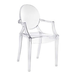 Modway - Casper Dining Armchair in Clear - Combine artistic endeavors into a unified vision of harmony and grace with the ethereal Casper Chair. Allow bursts of creative energy to reach every aspect of your contemporary living space as this masterpiece reinvents your surroundings. Surprisingly sturdy and durable, the Casper Chair is appropriate for any room or outdoor setting. Pure perception awaits, as shining moments of brilliance turn visual vacuums into new realms of transcendence.