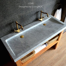 "47"" x 19"" TROUGH CARRA WHITE MARBLE BATHROOM SINK LOVE - Reference: BB513-1EWC-US"