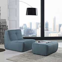 Align 2 Piece Upholstered Armchair and Ottoman Set in Sea (EEI-1290-SEA) - There are sectional sets that claim to be modern by portraying some enlightened path forward. But for every one of these efforts, is an equal and opposite reaction. The more we use our own guile to paddle forward, the more the stream of present reality seems to rush against us. Align was designed as an attempt to wash away those hindrances that obstruct growth. If there had been a choice, the designers would have kept Align just that. But while a sectional sofa set needs to be made curved, the intent was to stay true to the original concept. Align comes generously padded and upholstered in fine fabric, with slight button tufting and trim for only the gentlest effect. Set Includes: One - Align Upholstered Chair One - Align Upholstered Ottoman