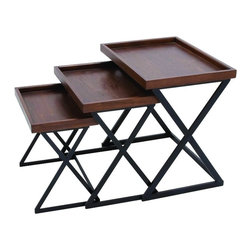 Benzara - Set of 3 Tray Tables Wood Surface Sturdy Metal Base Functional Decor 50487 - Traditional set of three tray tables in various sizes with wood surface and sturdy metal base functional home decor