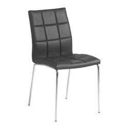 Eurostyle - Eurostyle Cyd Leatherette Side Chair w/ Chromed Steel Base in Black [Set of 4] - Leatherette Side Chair w/ Chromed Steel Base in Black belongs to Cyd Collection by Eurostyle The marvelous CYD Side Chair brings a beautiful modern look to any decor. This contemporary faux leather chair combines a soft foam padded seat and back with a durable steel base. An accent chair both elegant and versatile, it is sure to make a great addition to your living room, dining room or office space. Created with your comfort in mind, this piece features a progressive seating concept. It is made of leatherette and chromed steel. The set includes 4 (four) chairs. Comes in white. Assembly level/degree of difficulty: Easy. In the event of a return this item is subject to a restocking fee. Side Chair (4)