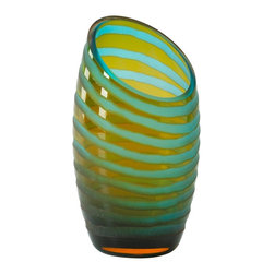 Cyan Design - Cyan Design 00105 Small Anlge Cut Etched Vase - Small Angle Cut Chiseled Vase