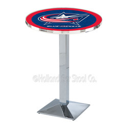 Holland Bar Stool - Holland Bar Stool L217 - Chrome Columbus Blue Jackets Pub Table - L217 - Chrome Columbus Blue Jackets Pub Table  belongs to NHL Collection by Holland Bar Stool Made for the ultimate sports fan, impress your buddies with this knockout from Holland Bar Stool. This L217 Columbus Blue Jackets table with square base provides a commercial quality piece to for your Man Cave. You can't find a higher quality logo table on the market. The plating grade steel used to build the frame ensures it will withstand the abuse of the rowdiest of friends for years to come. The structure is triple chrome plated to ensure a rich, sleek, long lasting finish. If you're finishing your bar or game room, do it right with a table from Holland Bar Stool.  Pub Table (1)