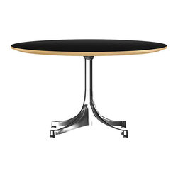 Herman Miller - Nelson Large End Table - This round-top end table offers functional style for your favorite modern space. Its maple wood top and metal base are balanced at an ideal height to keep whatever you place on it within easy reach.