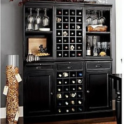 Wine Bar Wall Unit, 2 Cabinets/1 Wine Grid Base, 2 Open Hutches/1Wine Grid Hutch