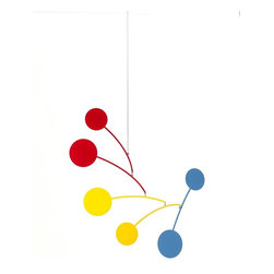 Ekko Workshop - Circle Series Mobile  Red/Yellow/Blue - Hanging mobiles aren't just for babies and nurseries. Channel your inner Calder with a modern take on the artistic mobile. Pick from three bold color palettes and infuse your room with whimsy and charm.