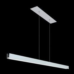 Edge Lighting - Glide Glass Linear Suspension - The Glide Glass Linear Suspension features a direct 1 inch D1 flat lens with 100 degree beam spread. Glass available in Black, White or Mirrored with matching canopy. Cables and hardware have a Satin Nickel finish. At 7 watts per foot, the 24 volt AC suspension contains Very Warm White 2700K or Warm White 3000K color temperature LEDs, 92+ CRI, delivering 33 lumens per watt/230 lumens per foot. 50,000 hour average lamp life. Available in 48 and 60 inch lengths. Custom sizes available. Includes a 26 inch rectangle canopy and feeds power at the center from a 24 VAC Class 2 electronic low voltage LED transformer. Includes LED transformer which fits inside a standard 4 inch electrical box with round plaster ring. Dimmable with an electronic low voltage dimmer (tested and approved Lutron Diva DVELV-300P or Lutron Skylark SELV-300P), sold separately. Made in USA. ETL listed. Fixture is covered by a 5 year warranty.