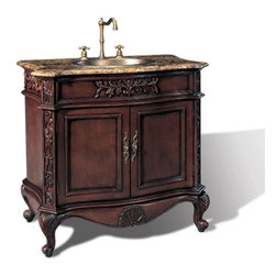 "Legion Furniture - 36 Inch Transitional Single Sink Bathroom Vanity - This traditional style bathroom vanity has an antique brown finish with beautiful hand cravings. The solid brown marble top with Brass sink is pre-drilled for a standard  3 hole faucet. Features 2 doors for storage.  Dimensions: 36""W X 21""D X 36.4""H (Tolerance: +/- 1/4""); Counter Top: Brown Marble; Finish: Antique Brown; Features: 2 Doors; Hardware: Antique Brass; Sink(s): 15.5"" X 11.25"" X 5"" Top Mount Brass; Faucet: Pre-Drilled for Standard Three Hole 8"" Center (Not Included); Assembly: Fully Assembled; Large cut out in back for plumbing; Included: Cabinet, Sink; Not Included: Faucet, Backsplash."