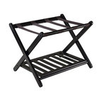Winsome Wood - Luggage Rack with Shelf - Made from solid wood and nylon. Dark espresso finish. No assembly required. Shelf: 22.91 in. W x 15.75 in. D. Folded: 26.54 in. W x 2.87 in. D x 26.70 in. H. Open: 26.54 in. W x 18.66 in. D x 20 in. HOrganize and pack your luggage on this stylist luggage rack with shoe shelf.