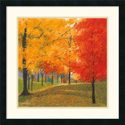 Amanti Art - Bright Autumn Day II Framed Print by Lynn Krause - Journey through the park at the height of autumn in this work of dynamic color by artist Lynn Krause.