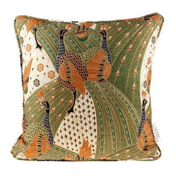 Brilliant Imports - Quilted Peacock Batik Pillow, Olive Green - We shopped for the batik in Denpasar.  After each vivid fabric was carefully chosen, I then met with a seamstress who works across the street from my friend, Suparta, in Ubud.  We analyzed each ikat and batik pattern to create the perfectly shaped pillow dimensions that highlight the beauty of the fabric design.  Each pillow was then handmade to these specifications. In quilted olive green batik.  Includes insert.