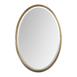Uttermost - Uttermost Casalina Brass Oval Mirror 01117 - Plated, brushed brass finish with twisted metal rope detail. Mirror is beveled.