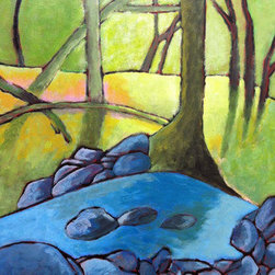 Early Morning Under Trees (Original) by Bryan  Jernigan - I'm drawn to the natural landscape within an urban setting. I painted this piece from a photograph taken in a national park located within the heart of the nation's capital. While the surrounding area is completely urban, the park has a remote and quiet feeling. I embrace color in all my works as I feel it imbues a sense of liveliness in an otherwise calm setting.