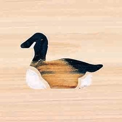 Door Mat:  Bamboo Sticks, Goose - Cedar Wood Door Mat - Goose
