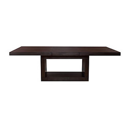 Z Gallerie - Loft Dining Table - This sleek, modern dining table, with its starburst top and cut-out rectangular base, will make a bold statement when paired with the matching loft dining chairs, featuring geometric cut-outs on their curved backs.