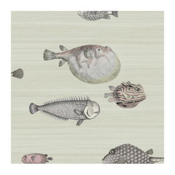 Cole & Son - Cole & Son - Fornasetti II Acquario Wallpaper - Soft Neutral - The fish theme appears in some of the earliest Fornasetti work, and this design adopts some of the motifs used on decorative trays. Picked for their whimsical and naive appearance, Acquario's clownish fish are set on soft washed backgrounds.