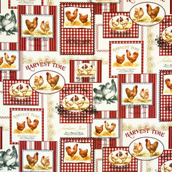 Rooster Fabric Red Ticking Gingham Vintage Farm Advertising, Standard Cut - A rooster chicken fabric with vintage farm advertising, all wrapped up with ticking and red gingham! It does not get more country than this!