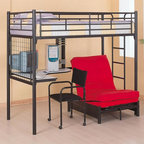 Coaster - Loft Bed Workstation - Mattress and pad not included.  Its sleek metal construction in a black finish will appeal to his or her growing tastes, while the desk below and futon chair make it easy to read and study.  Comes with matching metal futon chair frame and a computer chair to have your entire dorm needs handled in one comfortable piece.  Its metal frame provides an assurance of safety, and it's great for small places or shared rooms.  This ingeniously space-saving design includes a bed, a desk, and a futon chair all in a modest amount of room no wider or deeper than the bed itself. * Includes a twin loft bed, ladder, desk, rack, chair and futon chair. Twin mattress and red futon pad are not included. Made from solid metal. Black color. Built-in ladder. Ingenious space-saving design. 78.5 in. L x 42 in. W x 69.25 in. H. Weight bearing capacity: 150 lbs.. Assembly Instructions. Warranty. Bunk Bed Warning. Please read before purchase.. NOTE: ivgStores DOES NOT offer assembly on loft beds or bunk beds.
