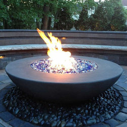 Customer Photos - Crossfire Burner by Warming Trends. Fire Bowl by Concrete Creations LA.