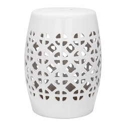 Safavieh - White Circle Lattice Garden Stool ACS4508A - It's simple geometry: this transitional garden stool has a circle and square lattice motif that brings a chic new look to an ages-old Chinese classic. Use this striking accent piece as an extra seat, plant stand or side table indoors or out: its glazed white ceramic stands up to the elements.