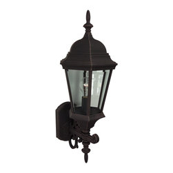 Exteriors - Exteriors Cast Aluminum Straight Glass Outdoor Wall Sconce - Medium X-70-052Z - A popular choice of outdoor lighting by electricians, builders, and home owners alike. The Straight Glass Outdoor Wall sconce is medium sized, stylish, and functional. Perfect for any deck, patio, porch. Or, install one light on each end of the garage wall entrance. A sure hit!
