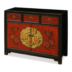 """China Furniture and Arts - Hand Painted Tibetan Chest - Exuberant and bold, the artwork on this cabinet displays the liveliness of Tibetan art. A definite conversation starter, the cheerful colors represents the personality of Tibetan people who are passionate with life. A removable shelf behind the double door compartment (interior 37.5""""W x 11.25""""D x 21""""H) and three drawers (interior 20""""W x 12.5""""D x 3""""H each) for your storage convenience. Completely hand-constructed of Elmwood. It is a one-of-a-kind item and will last for generations to admire."""