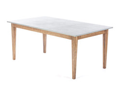 Kingston Krafts - Real Zinc Top Dining Table, Small - Zinc topped dining table with solid pine base. Zinc top features acid wash finish for an old worn look. Clear coated to seal in patina and protect from stains. Pine base is finished in a walnut stain and satin lacquer clear coat.
