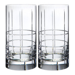Orrefors - Street Tumbler Pair - The hand-cut grid pattern of STREET suggests Manhattan's famous street network, while the symmetrical decor lends an outspokenly masculine air to the series as a whole.