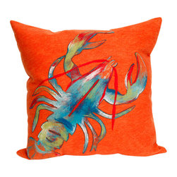 "Lobster Print Orange 20"" By 20"" Decorative Throw Pillow - This beautiful indoor / outdoor decorative throw pillow is made of 100% polyester microfiber. The cover has a zipper closure so you can take out the fiberfill inner pillow for hand-washing if you need to. The pillow measures 20 inchs by 20 inches. It looks just as great in your home or on your patio or wherever you want a dash of color."