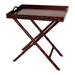 Oriental Furniture - Rosewood Tea Tray with Trestle Stand - A hand carved oriental design serving tray and trestle stand set, beautiful and practical. Fine quality kiln dried Rosewood finished in a rich medium Cherry stain and medium gloss lacquer, with carved faux bamboo sides and pieced handles. A great portable serving table or distinctive end table or nightstand; convenient for serving tea, coffee, or food anywhere, home or office.