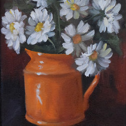 Oil Paintings by Cheri - White Daisies and Orange Creamer Still Life Painting - Original Canvas Painting - Title and Description: