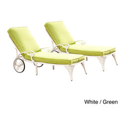 None - Biscayne Chaise Lounge Chairs with Cushion - This Biscayne Chaise Lounge Chair Pair with Cushion by Home Styles creates an intimate conversation area. This lounge chair is constructed of sturdy cast aluminum in a UV resistant,powder-coated finish sealed with a clear coat for protection.