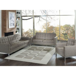 "LexMod - Florence Style Loft 3 Piece Sofa Set in Oatmeal - Loft 3 Piece Sofa Set in Oatmeal - A style so classic you will recognize it instantly, this beautiful set will fill your living room with joy. Each piece is crafted for optimum comfort and fashion. Furnish your space with the best of modern classics. Set Includes: One - Loft Woolen Armchair One - Loft Woolen Loveseat One - Loft Woolen Sofa Rich Wool Upholstery, Tufted Seat and Back, Exposed Metal Frame and Legs Overall Chair Dimensions: 31""L x 31""W x 31""H Armrest Height: 23""H Chair Seat Height: 21""L x 16""H Overall Loveseat Dimensions: 63""L x 31""W x 31""H Loveseat Arm Heights: 23""H Loveseat Seat Height: 21""L x 16""H Overall Sofa Dimensions: 91""L x 31""W x 31""H Sofa Arm Height: 23""H Sofa Seat Dimensions: 21""L x 16""H Overall Product Dimensions: 185""L x 31""W x 31""H - Mid Century Modern Furniture."
